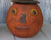 Primitive Paper mache Pumpkin