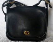 Vintage Black Leather COACH Legacy Crossbody Handbag Purse