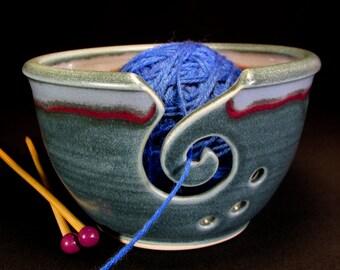 Yarn Bowl - Knitting Bowl - Crochet Bowl - Blue Yarn Bowl - Yarn Holder - Yarn Bowl Pottery - Pottery Yarn Bowl - YarnBowl -InStock