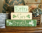 Primitive St Patrick's Day Shelf Blocks Decor Wooden Blocks Irish Decor Erin Go Bragh