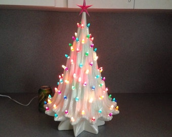 Ceramic Christmas tree Icicle tree in white 22 inches tall Ready to ship
