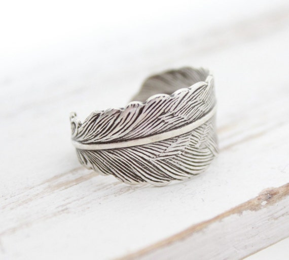 Silver Feather Ring, Feather Wrap Ring, Adjustable Rings, Fashion Jewelry, Popular Trending Jewelry, Feather Jewelry