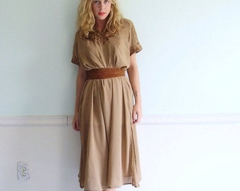 30% off ... Coffee Bean 'Broidered Vintage 70s SS Semi Sheer Chocolate Brown Long Ethnic Summer Dress M/L