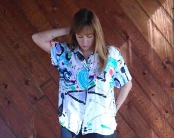 30% off ... Splatter Paint Print Button Down Blouse Shirt - Vintage 80s 90s - M L