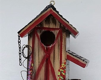 Unique Brown and Red Twisted Barn Birdhouse , Comes with Pickup in the Barn , a Mule in the Stall and Extras , with Clean Out