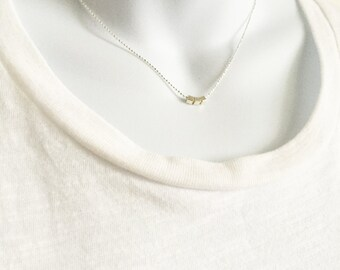 Minimal Silver Necklace, Silver Chain, Silver Square Bead, Layering Necklace, Ball Chain