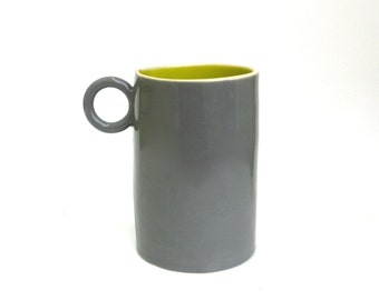happy colorful whimsical hand built porcelain cup