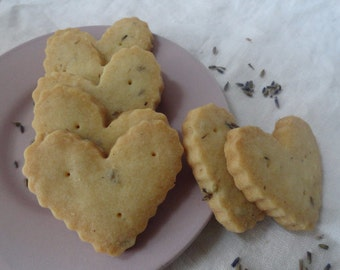 Fluted Hearts ~ Honey Lavender Shortbread Cookies ~