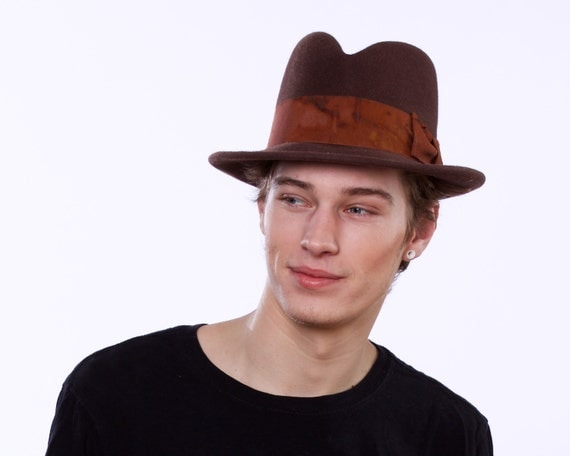 Men's Felt Fedora Hat Brown Men's Hat Mad Men Spring Fashion Gift for Him Men's Gift Great Gatsby 1920s Hat 1930s Hat 1940s Hat 1950s Hat