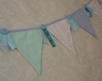 Blue for a boy Nursery Mini Banner Bunting ideal for a boy's room or Baby Shower Celebration or Photo prop made to order