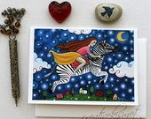 Boundless - Girl Riding Zebra - 5x7 Art Card with Envelope
