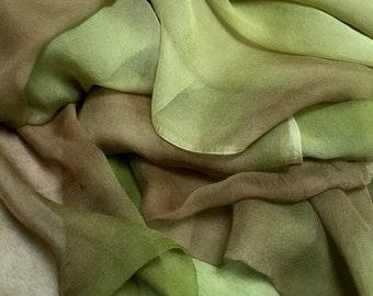 Hand Dyed Silk Chiffon Nuno fabric 85cm x 315cm