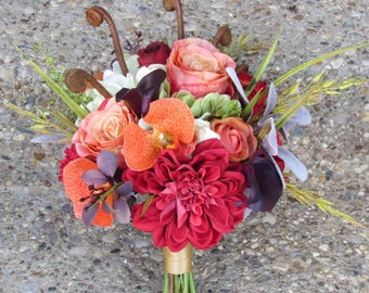 Fall Bridal Bouquet with Red Dahlias, Orange Roses and Light Green Hydrangeas...Ready to ship