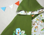 Wool Capelet - Children, Cape, Girl, Owls, Costume, Hood, Woodland