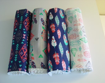 Set of 4 baby boy Modern,  Tribal, Feathers burp cloths with chenille
