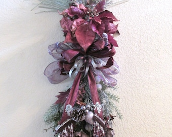 Plum Purple and Silver Vertical Door Swag with Poinsettias for Christmas or Home Decor with Victorian style beaded fringe bow