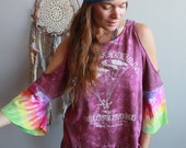 Free Fall Convention Tie Dye Bell Sleeve Open Shoulder Tee One Size  Hippie Boho Upcycled OOAK Clothing
