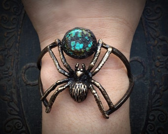 Bronze Spider Cuff set with Turquoise - Adjustable Cuff design - handmade in Austin Texas by Jamie Spinello