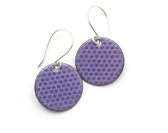 Purple Enamel Earrings - Round Dangle Earrings - Lavender Purple Earrings with Polka Dots - Gift for her