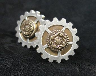 Sprocketeer Cuff Links - Steampunk Cuff Links, Steampunk Cufflink, Clockwork Cufflinks, Gifts for Guys, Mens Jewelry, Mixed Metal Jewelry