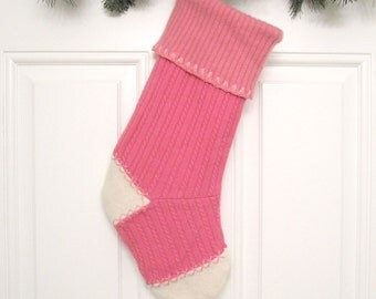 Pink Cable Knit Customizable Christmas Stocking Personalized Holiday Decoration Handcrafted from Felted Wool Sweaters no738
