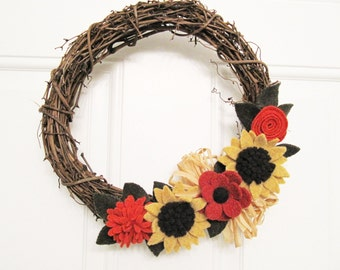 "Sunflower Fall Felt Flower Wreath Autumn Decoration 12"" Grapevine Wreath Wall Hanging Handcrafted from Felted Wool Sweaters no974"