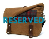 RESERVED Waxed Canvas Messenger Bag / Lumberjack Vintage Wool & Oiled Leather / Ready to ship