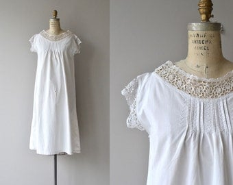 Edwardian tatted lace nightgown | antique 1910s nightgown | crochet vintage cotton lingerie
