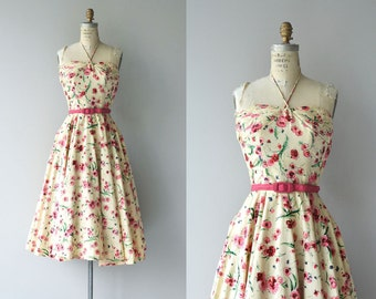 Mascotte dress | vintage 1950s dress | floral 50s halter dress by Claudia Young