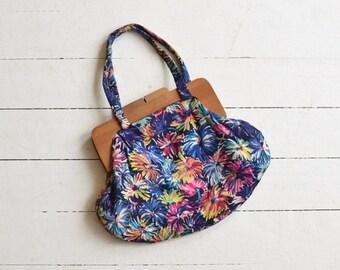 Floral Fireworks silk bag | vintage 1940s purse | silk floral 40s handbag