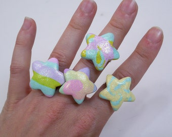 Fairy Kei Polymer clay Star rings - pastel rainbow cuteness