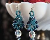 Classy Blue Macrame Earrings ~ Dangle Earrings ~ Macrame Jewelry ~ Turquoise ~ Beaded