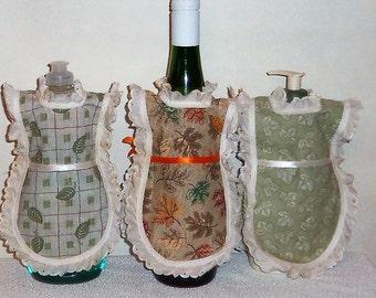 Dish Soap Apron, Detergent Cover, Leaves, Autumn Fall, Kitchen Decor, Wine Bottle Cover, Eyelet Lace, Bottle Gift Wrap