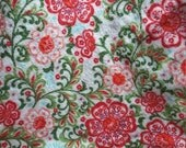ON SALE Lap Robe Throw Wheelchair Blanket Red Floral Beige Flannel Reversible Same Print