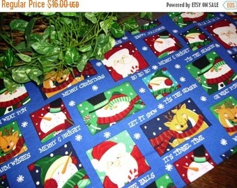 ON SALE Christmas Table Runner Santa Snowmen Reindeer Padded