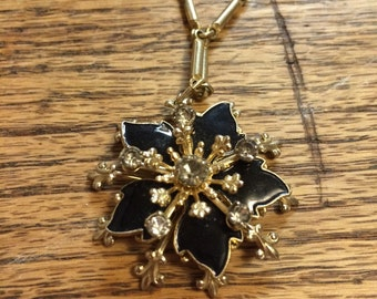 Black flower and rhinestone necklace