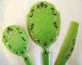 Vintage vanity dresser set, mirror, brush, comb, marbled green plastic, painted accents, 1940s, 1950s