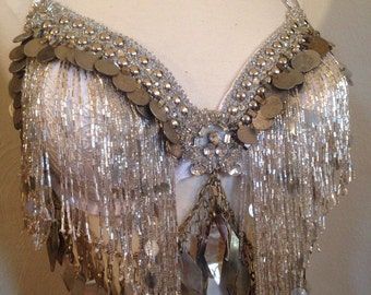 Tribal fusion, Ice and leather, white,Cabaret, Tribaret, TWO piece  Professional  Bellydance  costume. SALE price!