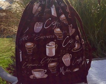 Coffee! - Lined Drawstring Project Bag