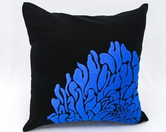 Contemporary  Floral Couch Pillow Cover, Black Linen Blue Flower Embroidery, Home Accent, Couch Pillow, Bedding, Toss Pillow, Pillow Sham