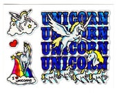 Vintage 80s Prism Rainbow Unicorns Sticker Sheet