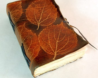 Brown Leather Journal with fallen leaves
