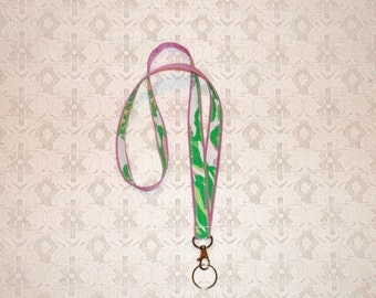 SWEET SALE Pink Green Lilly Pulitzer Seeing Pink Elephants Fabric Lanyard