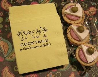 Cocktail party napkins personalized napkins hostess gift set of 50 napkins