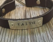 Handmade leather bracelet with silver plate hand stamped with your word/phrase and silver plated pewter clasp