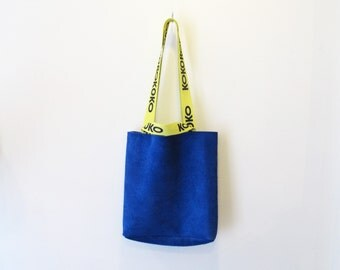 Electric Blue Kokorokoko x Eye of the Sun Suede Tote