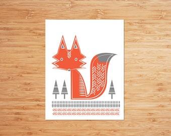 Scandinavian Fox Wall Art Baby Shower Gift Nursery Decor Wall Decor Baby