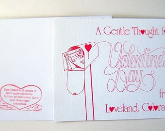 Vintage Valentine's Day Card , dated Rare 1980 Loveland Colorado Chamber of Commerce Unused Valentine Cachet Stamp and original  Envelope