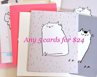 MIXED CARD SET- Choose any 5 cards for 24 dollars- Cat Cards