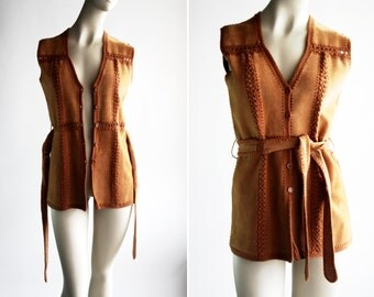 Vintage Suede and Acrylic Knit Bohemian Belted Self Tie 1970's Long Woman's Vest By Sweater Bee